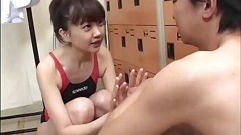 Little Japanese Swimmer gets her pretty face spunk covered - Japanese Bukkake Orgy
